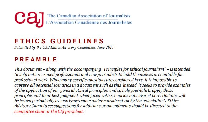 The Canadian association of Journalists Guidelines