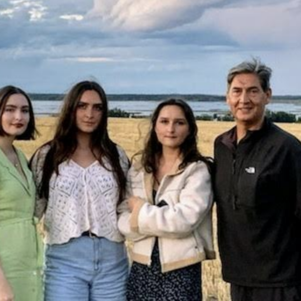Lafond (right) pictured with his three daughters, Isobel, Alphonsine, and Portia, in Saskatchewan on the reserve where he grew up.